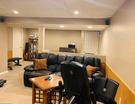 leather couch and brown coffee table in new home for sale basement