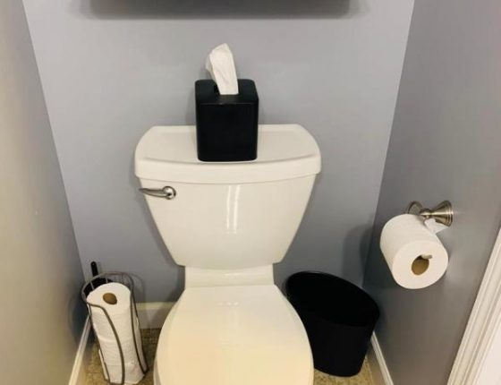 toilet and toilet paper rolls in bathroom of new home for sale
